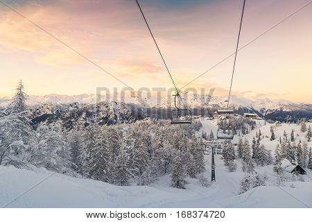 Ski center of Vogel Triglav natural park Julian Alps Slovenia Europe.