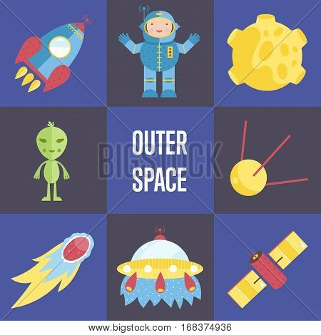 Space objects cartoon icons. Spaceship, astronaut, Moon in craters, alien, satellites, comet or meteor, flying saucer vectors isolated on checkered blue background. For app button, logo, web design