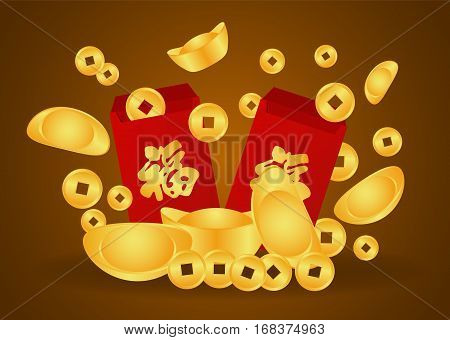 Chinese Gold Nugget money and coin and Angpao (Chinese word mean blessing)