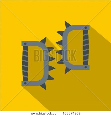 Japanese knuckles with spikes icon. Flat illustration of Japanese knuckles with spikes vector icon for web   on yellow background