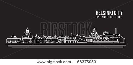 Cityscape Building Line art Vector Illustration design - Helsinki city