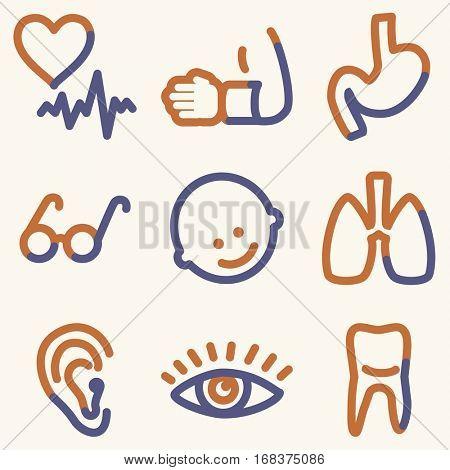 Medicine icons, light blue contour