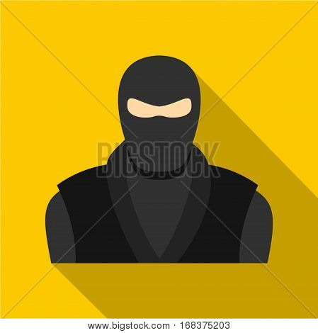 Ninja in black clothes and mask icon. Flat illustration of ninja in black clothes and mask vector icon for web   on yellow background