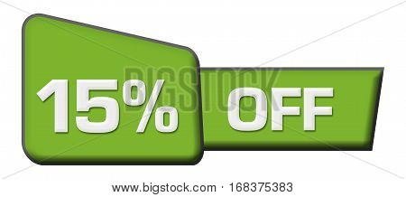 Fifteen percent off text written over abstract blue background.
