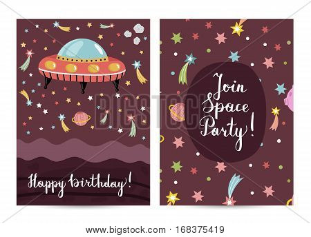 Happy birthday cartoon greeting card on space theme. Flying saucer surrounded by color stars, solar system planets and fiery comets on brown background vector. Invitation on childrens costumed party