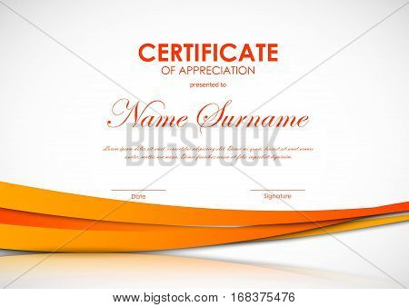 Certificate of appreciation template with orange paper wavy light background. Vector illustration
