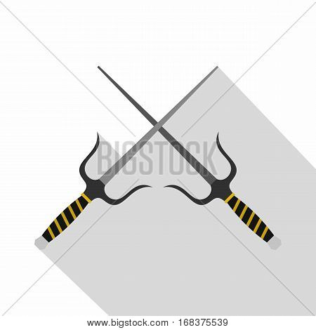 Sai weapon icon. Flat illustration of sai weapon vector icon for web   on white background