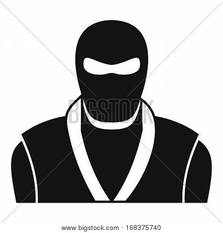 Ninja in black mask icon. Simple illustration of ninja in black mask vector icon for web