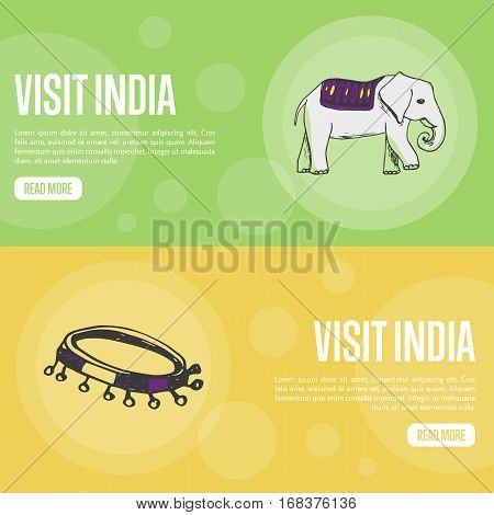 Visit India horizontal banners. Elephant and folk tambourine line hand drawn vector illustrations. Web templates with country related doodle symbols. For travel company landing page design