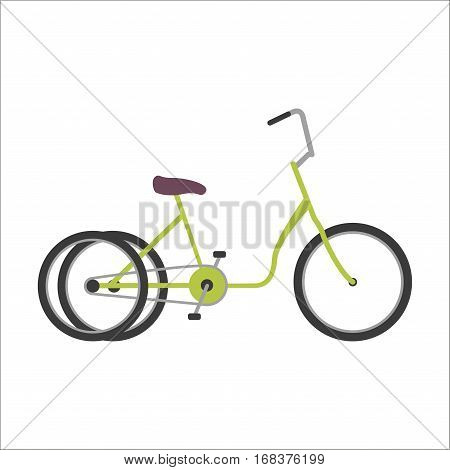 Vintage retro two-wheeled bicycle and style antique sport old fashion grunge flat pedal ride vector. Riding bike transport illustration. Healthy lifestyle vehicle.
