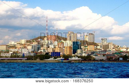 Vladivostok city panoramic sea view, Primorsky krai, Russia