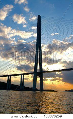 Bridge to Russky island at sunset, Vladivostok, Russia