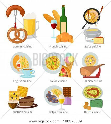 European cuisine food vector illustration. Lunch meal delicious tasty dish. Homemade fresh meat traditional dinner. Prepared baked ingredient.