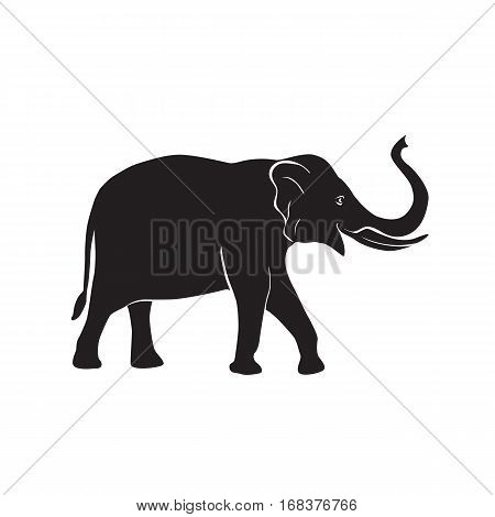 African elephant simple symbol. Vector silhouette illustration