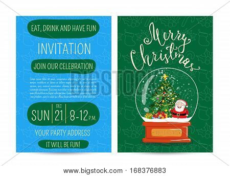 Invitation on Christmas party with date and time. Snow globe with Santa, Christmas tree, gifts, toys cartoon vector. Merry Christmas and happy New Year greetings. Xmas fun. Winter holidays celebrating