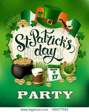 St. Patricks Day Party vintage holiday poster design. Vector illustration.