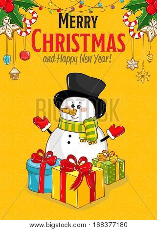 Merry christmas and Happy New Year cartoon concept. Cute snowman in scarf, hat, gloves with presents, sweets, holly, garland vectors on yellow. Xmas celebrating. For greeting card, party invitation