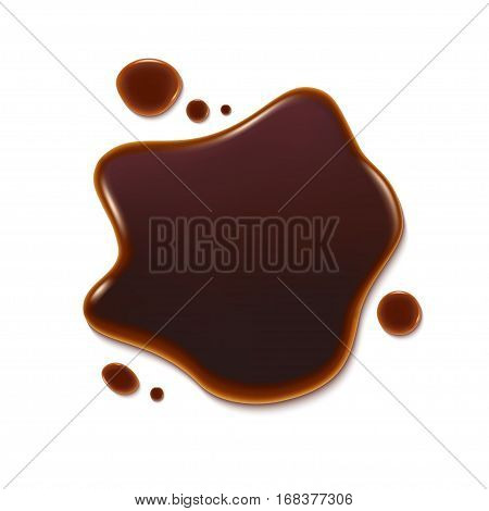 Puddle of soy sauce  isolated on white background