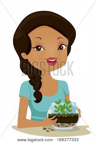 Illustration of a Young Woman Holding a Homemade Terrarium Showing the Different Layers of the Soil