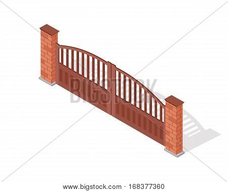Metal gate vector icon. Steel car entry with brick pillars isometric projection vector illustration isolated on white background. For gaming environment, architecture element, app design