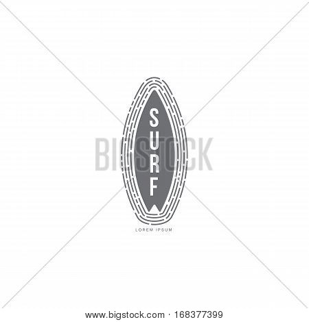 Black and white graphic surfing logo template with surfboard standing vertically, vector illustration isolated on white background. Graphic surfing board logotype, logo design