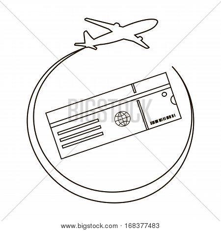 Air Ticket Line Icon. Vector illustration flat design