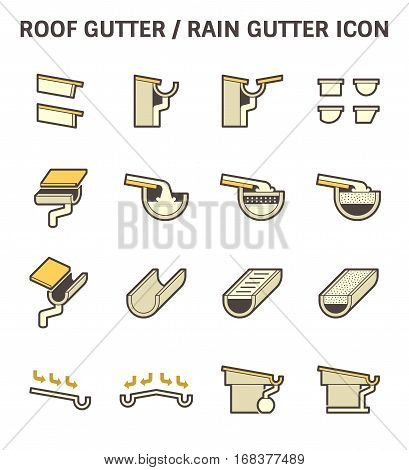Roof gutter for drainage system vector icon set design.