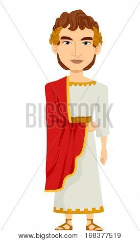 Illustration of a Man Dressed as a Roman Emperor Wearing a White Tunic Draped with a Red Cape