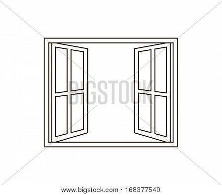 Open Window Line Icon. Vector illustration design