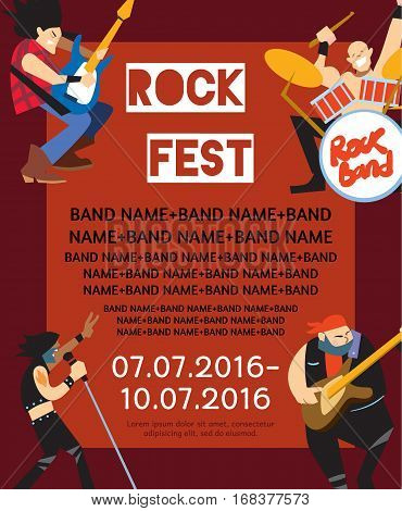 Rock fest banner with music group. Music party invitation. Concept of artistic people vector illustration. Singer, guitarist, drummer and bassist characters performs. Rock star. Festival poster.