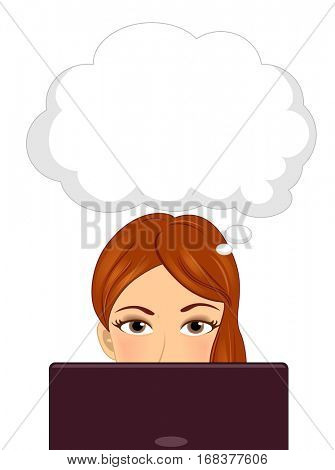 Illustration of a Girl Sitting in Front of a Laptop with a Thought Balloon Hovering Over Her Head