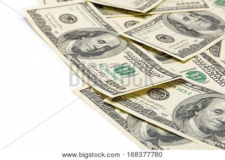 Background of the money hundred dollar bills front side. background of dollars old hundred-dollar bill face from american dollars banknotes. Isolate on white.