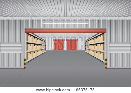 Interior of warehouse building with cargo container box on shelves for background.