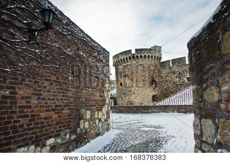 Kalemegdan fortress in winter covered with snow, Belgrade, Serbia