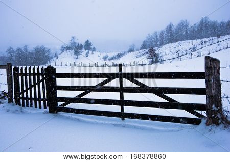 Snow is falling on a wooden fence at winter, mountain Kozomor, Serbia