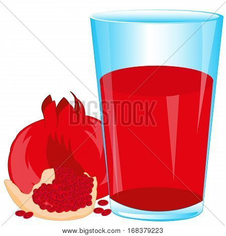 Glass of juice from fruit garnet on white background insulated