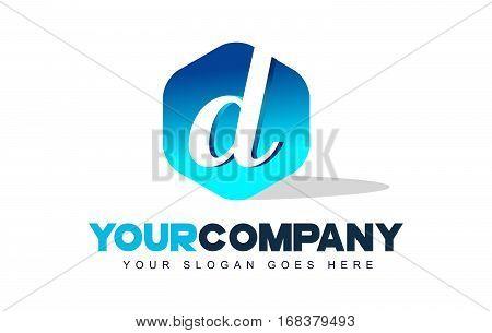 d Letter Logo. Modern Hexagon Logo Shape Design Vector.
