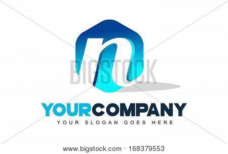 n Letter Logo. Modern Hexagon Logo Shape Design Vector.