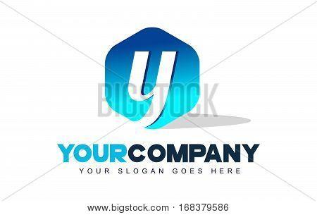y Letter Logo. Modern Hexagon Logo Shape Design Vector.