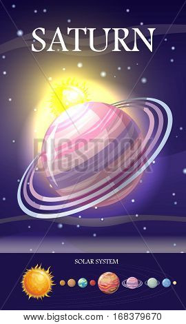 Planet Saturn in solar system. Solar system with stars, Sun, Pluto, Neptune, Uranus, Venus, Mercury, Saturn, Jupiter, Mars, Earth and Moon on orbit. Planets in orbit around the sun. Set of planets