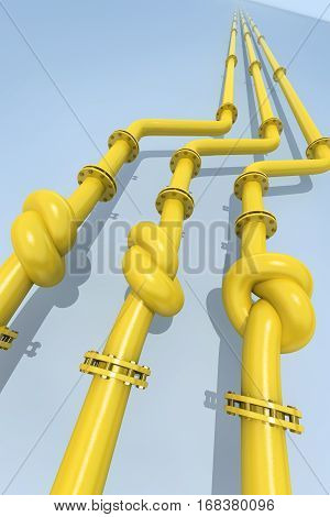 Gas pipes tied in a knot. Concept of energy crisis. 3D rendering.