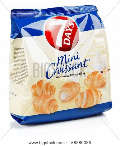 Front View Of 7Days Mini Croissant (vanila Flavour) Isolated On White Background