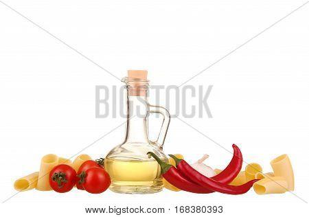 Pasta, Tomatoes, Basil And Garlic. Isolated On White Background