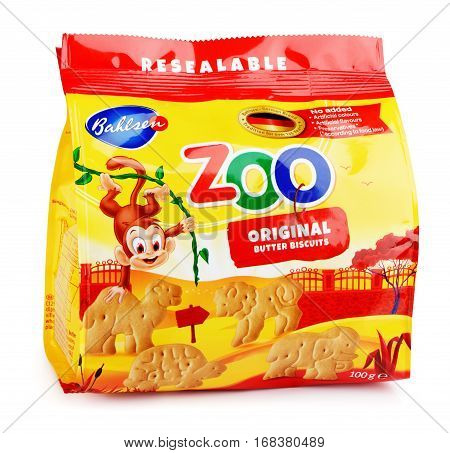 Front View Of Bahlsen Leibniz Zoo Original Butter Biscuits Isolated On White