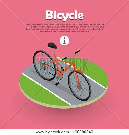 Bicycle icon isometric design on the road web banner. Bike and orange bicycle. Personal transport. Ecologically safe transportation item. Cycling race sport. Mountain bicycle, travel bicycle. Vector