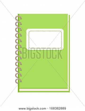 Spiral notebook vector illustration. Flat design. Green vertical notepad with place for signature on cover. Stationery for notes. Personal diary. For study, organization concepts. On white background
