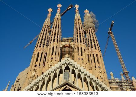 Barcelona Spain - December 2 2016: Frontal view of La Sagrada Familia in Barcelona Spain