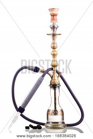 Hookah Isolated On A White Background. Water Pipe, Hookah Tobacco, Coal, Charcoal