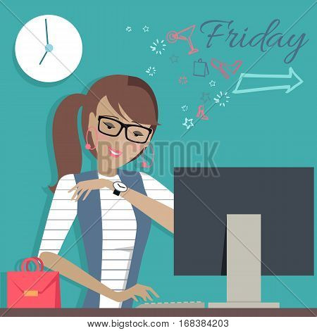 Friday working day. Woman dreaming about her weekends. Girl thinks how to spend her weekend cheerful. Part of series of daily routine of the week. Working hours, schedule. Vector illustration.