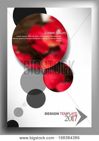 A4 size annual report, flower petal red rose blurred photo realistic elements. eps10 vector